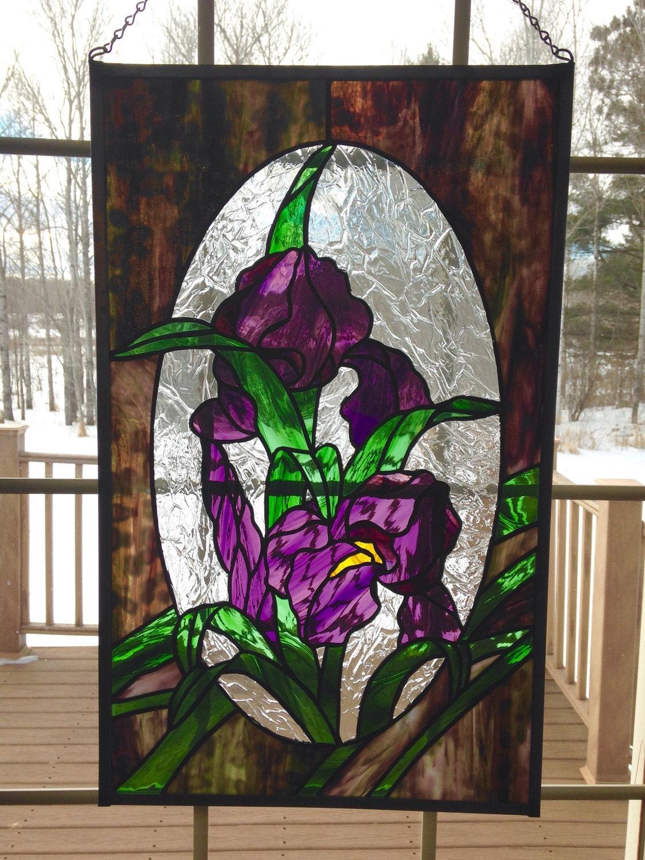 Clearance Sale Purple Iris Panelstained Glass Window