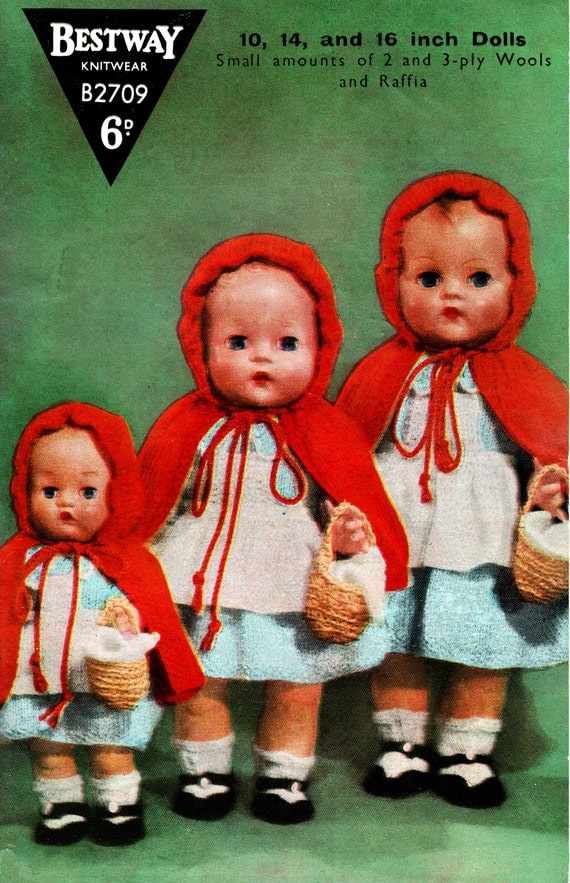 Knitting Pattern For Little Red Riding Hood Doll : PDF Vintage 1950s BESTWAY B2709 Doll Clothes by ...