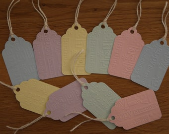 Birthday gift tags, embossed gift tags, Happy Birthday gift tags, present tags, Gift Wrapping Pack of 10 handmade tags