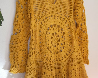 crocheted yellow mini dress