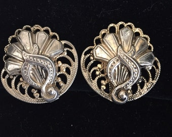 Vintage Silver Clip Earrings by Marino Signed