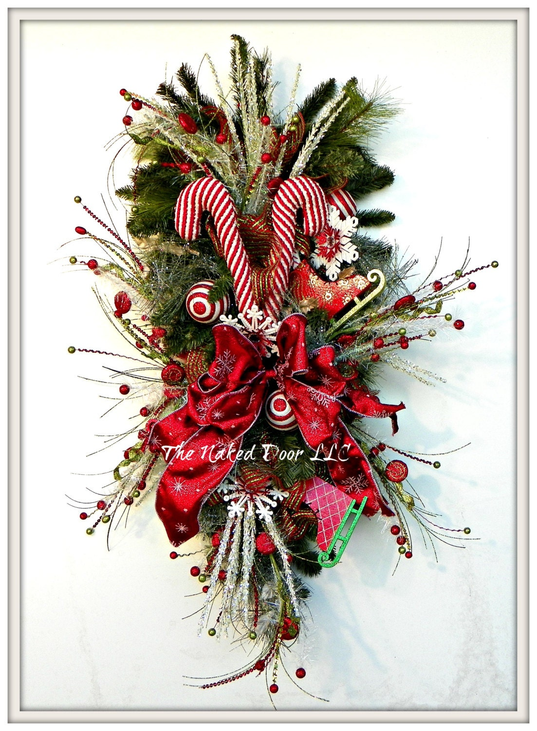 Christmas Wreath Christmas Swag Candy Cane Wreath Ice Skate