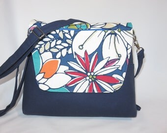 Convertible Purse + Backpack + Messenger Bag // Blue Floral