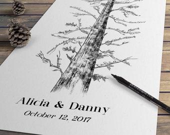 Wedding Guest Book - Eternal Redwood Guestbook Alternative, Signature Tree, Pine Tree, Fingerprint Tree, wedding sign-in wedding guestbook