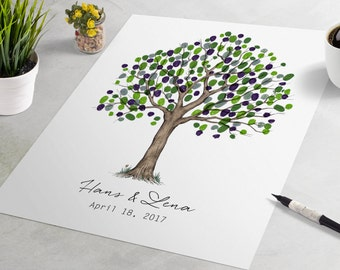 Wedding Guest Book Fingerprint Tree - Simple oak finger print tree, the wedding guest book alternative, thumbprint tree, fingerprint tree
