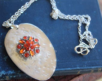 Large Hammered Spoon Pendant with Orange Snap Button