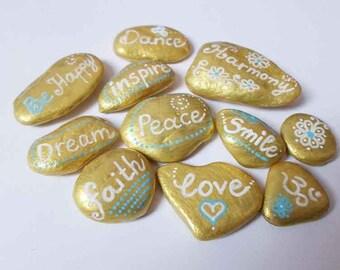Inspirational Quotes Painted Rock stones, Golden OOAK gift, Pebble Art, Om love Heart Stone, Christmas gift, Boho Yoga Zen Art Decor Gift