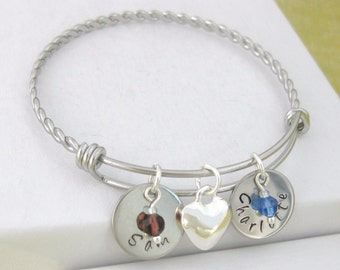 Personalised Twisted Bangle with 2 Hand Stamped Name Discs & Birthstones 14mm Silver Plated Heart Charm Gift UK Seller