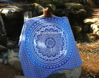 Indian mandala tapestry, blue ombre queen-size tapestry sheet, hippie sheet, wall tapestry, boho decor, dorm decor, bohemian bed sheet