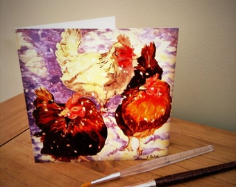 Blank greeting card Hens in the Snow, free P&P