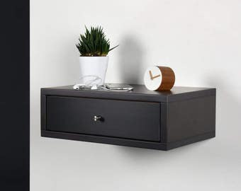 End table / Side table with drawer / Modern bedside / Wood side table / Floating black Corian bedside / Stone gray console midcentury