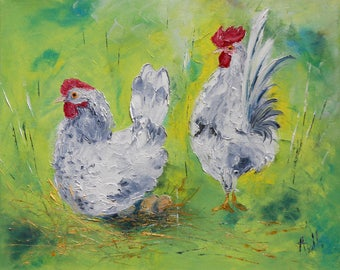 """Painting """"grey Hens"""""""