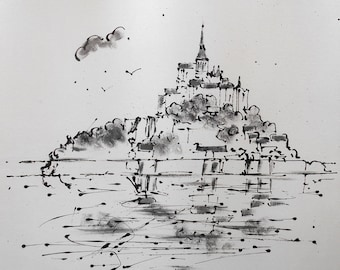 Painting  black and white  Mont St-Michel