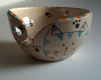 Yarn bowl, cat bowl, handmade yarn bowl, dancingharepottery, knitting and crochet, folk art,cat gift,pottery yarn bowl, cottage chic, cats