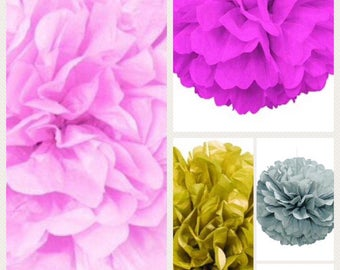 Tissue paper pom pom puff party decoration hanging puff ball wedding candy buffet decoration baby shower pink green silver gold blue