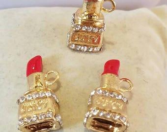 Gold Lipstick Charm, Jewlry Making, Findings