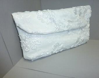 Bride's White Lace Clutch