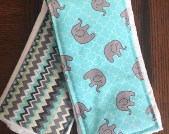 Blue Elephants Burp Cloth Set