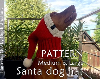 Santa Dog Hat PATTERN/ Christmas Dog Hat Pattern / How To Knit Dog Hat / DIY Knit Dog Hat