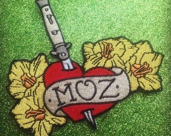 """Morrissey Love Tattoo Style """"Moz"""" Iron On Patch"""