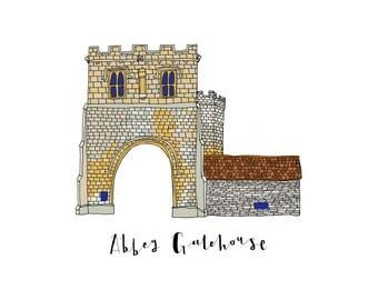 Abbey Gatehouse, a Landmark Trust building - A6 Greeting Card, A4 Digital Print
