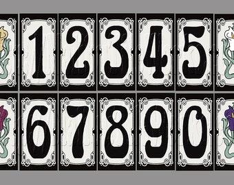 Art Nouveau House Numbers Address Tiles Framed or Unframed - Art Nouveau Style