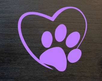 Dog Paw Decal, Dog Paw Heart Decal, Dog Decal, Adopt Decal, Adopt Dog Decal, Pet Heart Decal, Dog With Paw Heart Decal, Yeti Decal