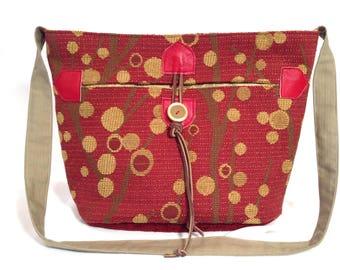 Crossbody tote medium, Red as Raspberry upholstery fabric, Everyday light weight, handmade handbag, lots of pockets, durable, versatile tote