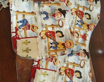 Cowboy burp cloth and pacifier clips