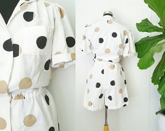 80s White Polka-dot Linen Romper | Homemade