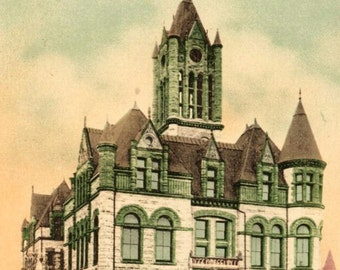 Tacoma, Washington - Beautiful architecture of the Pierce County Court House  - c1908 - Vintage Postcard