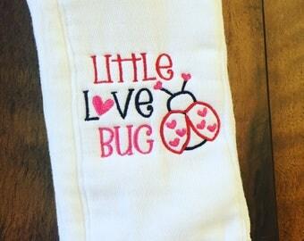Love Bug Burp Cloth. Cute Burp Cloth. Embroidered Burp  Cloth. Baby Shower Gift. Girl Burp Cloth