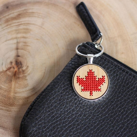 Maple leaf cross stitch keyring kit with bamboo wood