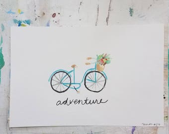 """Watercolor """"Adventure"""" Bicycle Painting"""