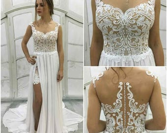 Boho Vintage Inspired Wedding Dress with Lace Corset,chiffon skirt with front slit ,beach wedding dress, Lace Back with Buttons,Train, Belt
