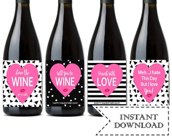 galentines day instant download valentines day wine lables printable funny valentine holiday wine labels