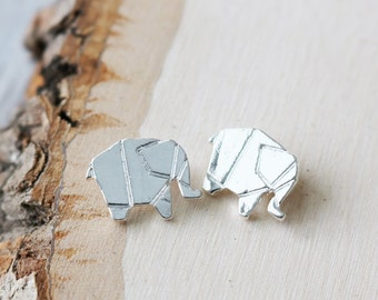 Set of 2, Silver Elephant, Origami Charm, Elephant Charms, Flat Charms, Flat Silver Charms, Silver Charms, Silver Animal Charms,