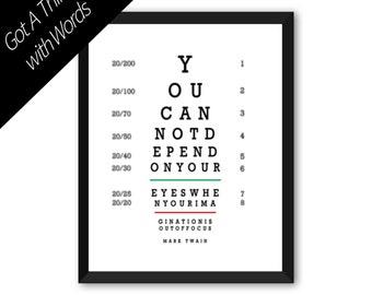 MARK TWAIN Quote, Eye Chart Illustration, Word Art, Typography,Home Office Literary Wall Art Print