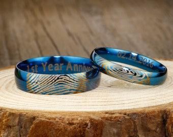 Blue Wedding Band, Custom Fingerprint ring, Wedding Engagement Titanium Rings Set