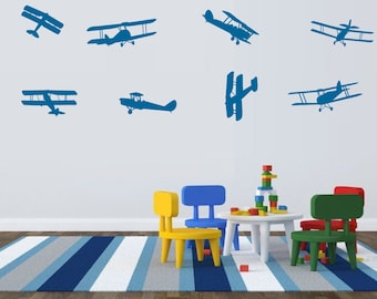 Airplane Decals Airplane Wall Decals - Childrens Room Decor Kids Room Teen Room Vinyl Wall Decal Airplanes playroom decal, fun decal DIY