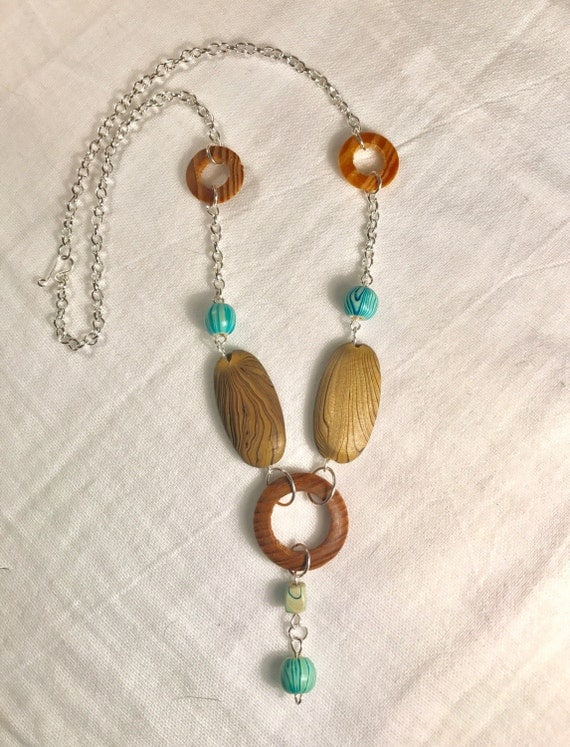 Natural and turquoise wood bead necklace with silver chain-boho style