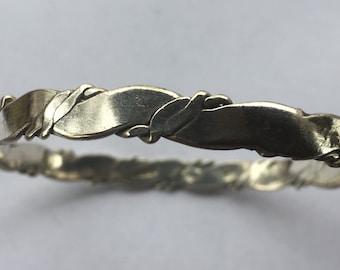 Vintage Sterling Silver Taxco Mexico Braided Bangle Bracelet