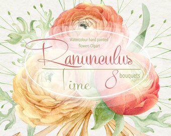 Watercolour Clipart collection of Ranunculus bouquets,  Hyacinth, Hand painted, Wedding invitation, DIY, greeting card, PNG, Scrapbooking