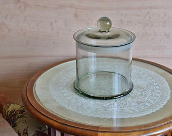 Antique Kitchen Canister - Retro Clear Glass Candy Jar - Lidded Stock Pot - Large Food Canister With Lid - Authentic Kitchen Storage 1900s.