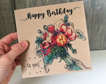 Female Birthday Card with Flower Bouquet Design, floral card ideal for mum, girlfriend, aunt, sister. Recycled square brown greeting card UK