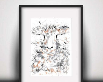 Sheep watercolour PRINT, sheep, watercolour painting, sheep illustration, sheep art print, farm animal prints