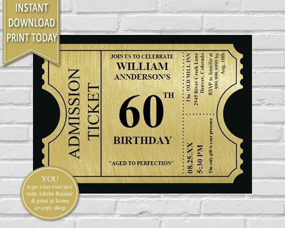 Gold ticket 60th birthday invitation60th birthday50th birthday il570xn filmwisefo