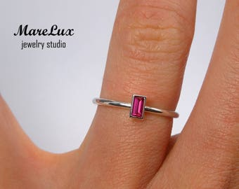 Ruby Baguette Cut Silver Ring, Synthetic Pink Ruby Ring, July Gemstone Birthstone Ring, Stackable Sterling Silver Delicate Dainty Ruby Ring