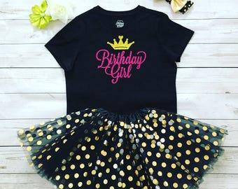 Birthday Girl Glitter T-shirt and tutu skirt