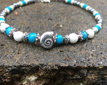 Beach Anklet, Sea Shell Anklet, Turquoise Anklet, Ankle Bracelet, Beach Jewelry, Ankle Jewelry, Anklets, Anklet
